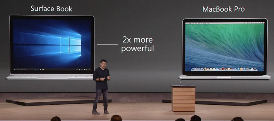 Microsoft Surface Book vs MacBook Pro slide