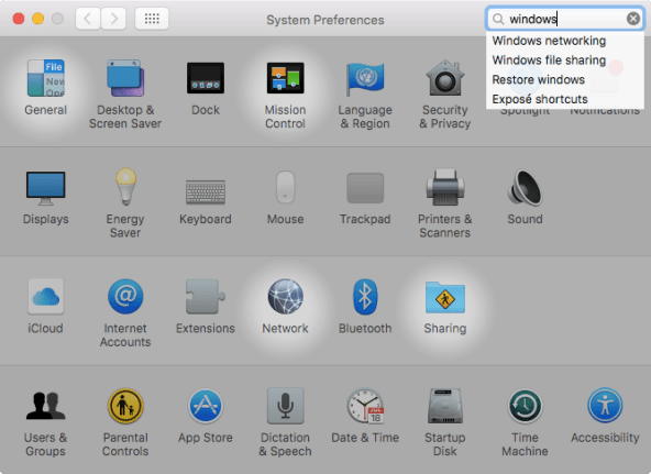 OS X El Capitan System Preferences search Mac screenshot 003
