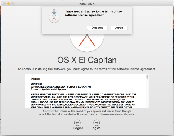 OS X El Capitan installer accept license agreement