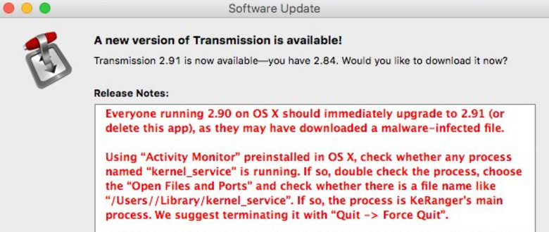 transmission software update ransomware