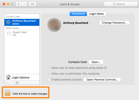 Make changes to Mac users and Groups Settings