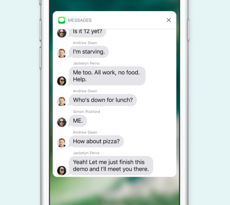 Apple iOS 10 Lock Screen Thư thông báo của Peek và Pop