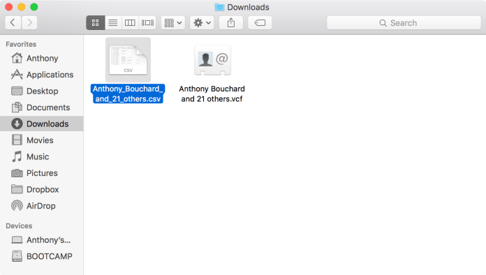 Mac Finder Downloads Folder CSV File