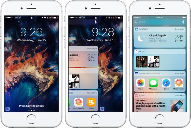 iOS 10 Khóa trượt Widget màn hình trên iPhone chụp màn hình 001