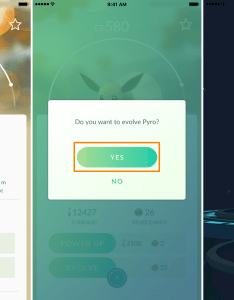 Evolving eevee into flareon with pyro nickname also controlling what your evolves in pokemon go rh idownloadblog