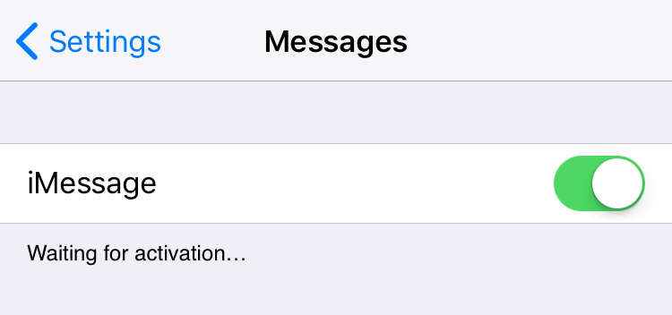 waiting for activation imessage