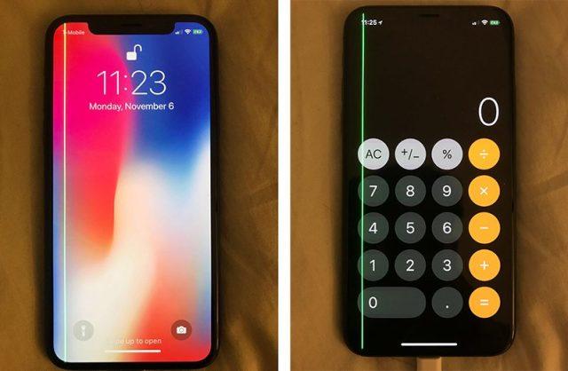 iphone x आईफोन एक्स display green line