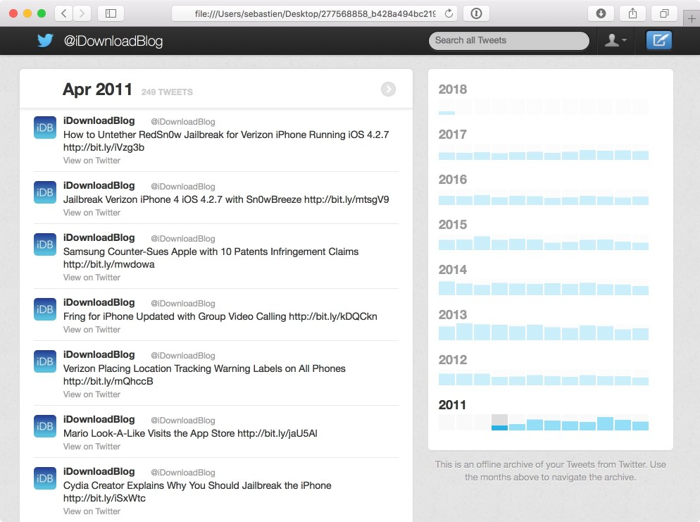 View web archive of tweets