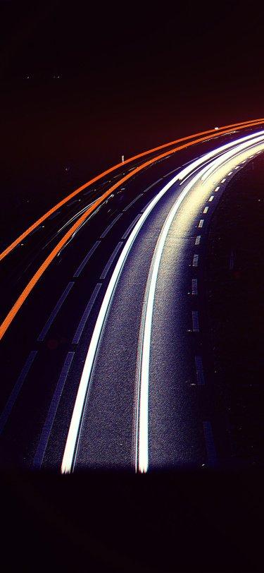 road-night-car-street-light-blue-dark-flare-iphone-X