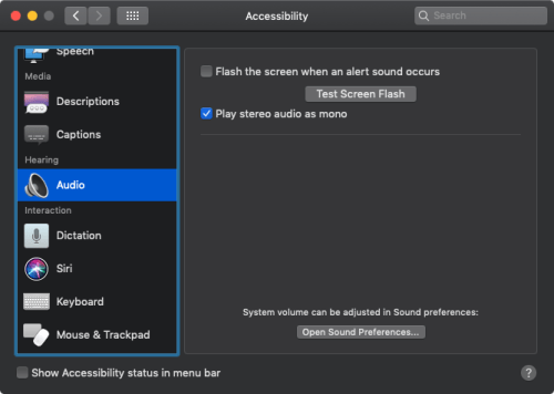 how to enable AirPods mono audio on Mac