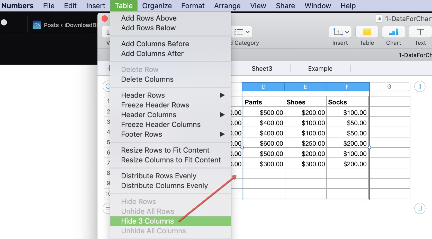 How To Add Delete Hide And Move Columns And Rows In Numbers On Mac
