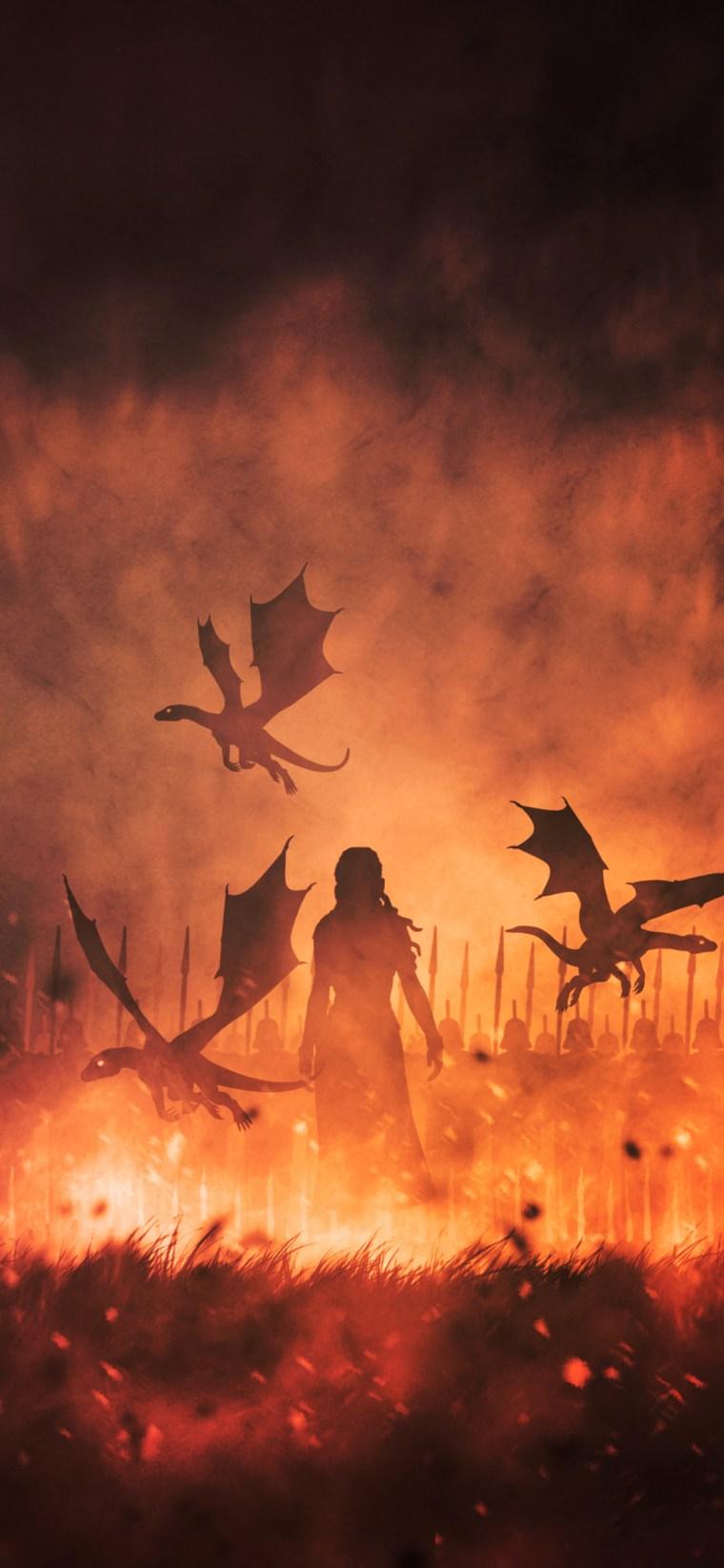 daenerys-targaryen-with-dragons-illustration-d5-1125x2436 iPhone game of thrones wallpaper