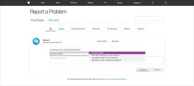 Request Refund Mac app from iTunes Report a Problem Site