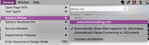 Develop Menu for iPhone in Safari on Mac