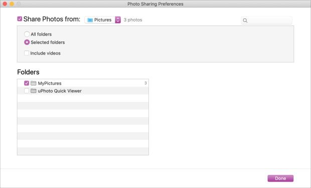 Photo Sharing Preferences Folders Mac to Apple TV