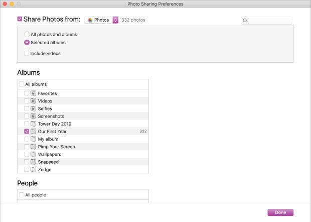 Photo Sharing Preferences Mac to Apple TV