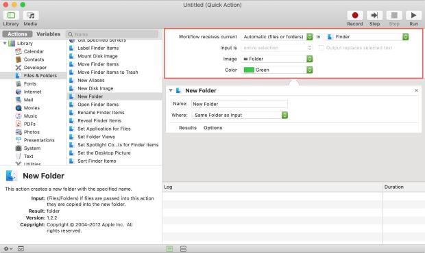 Automator New Folder Workflow Top