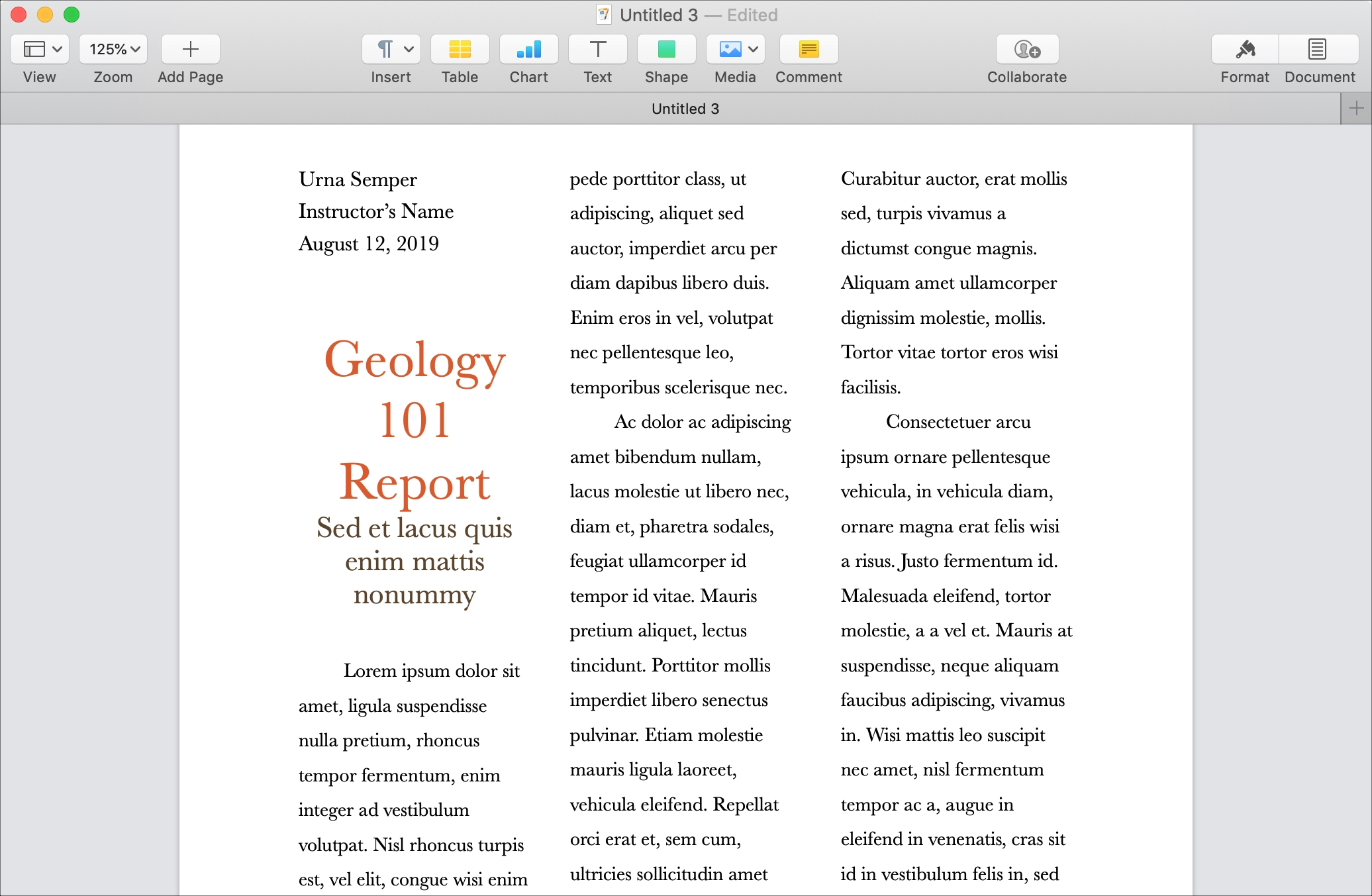 How to easily work with columns in Pages on Mac