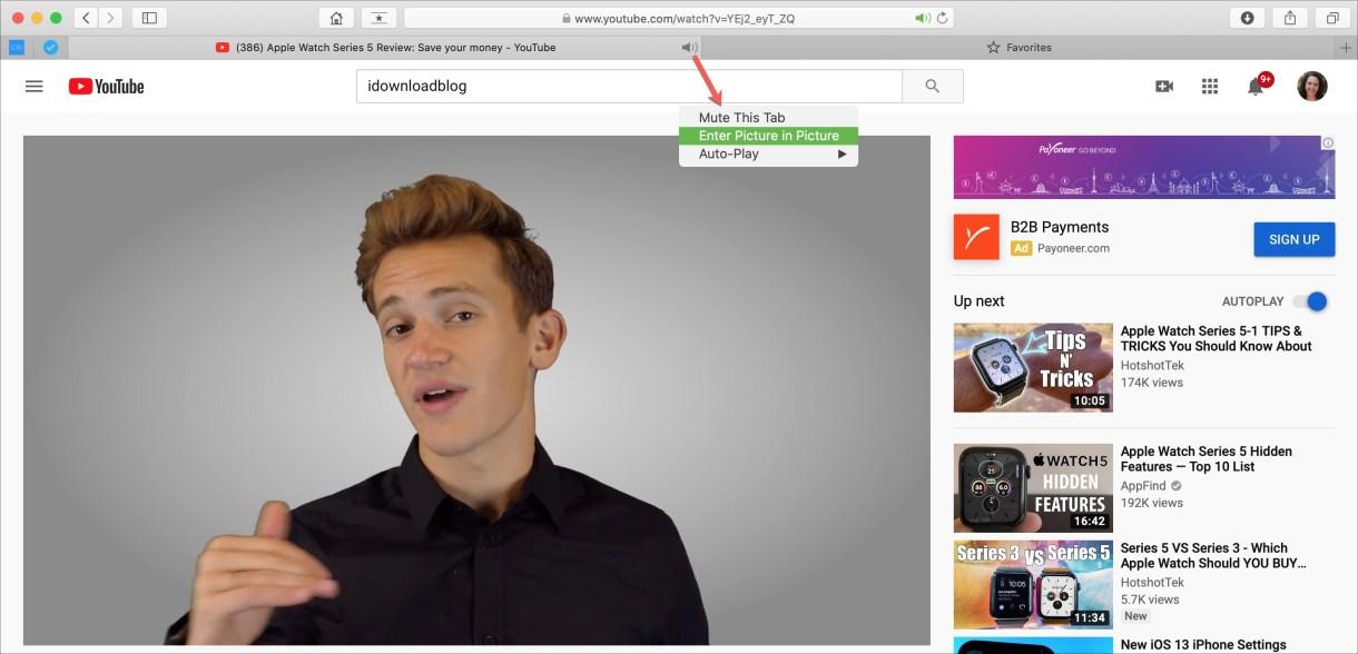 Enable PiP Safari tab - طريقة استخدام ميزة picture-in-picture في متصفح سفاري على أجهزة ماك