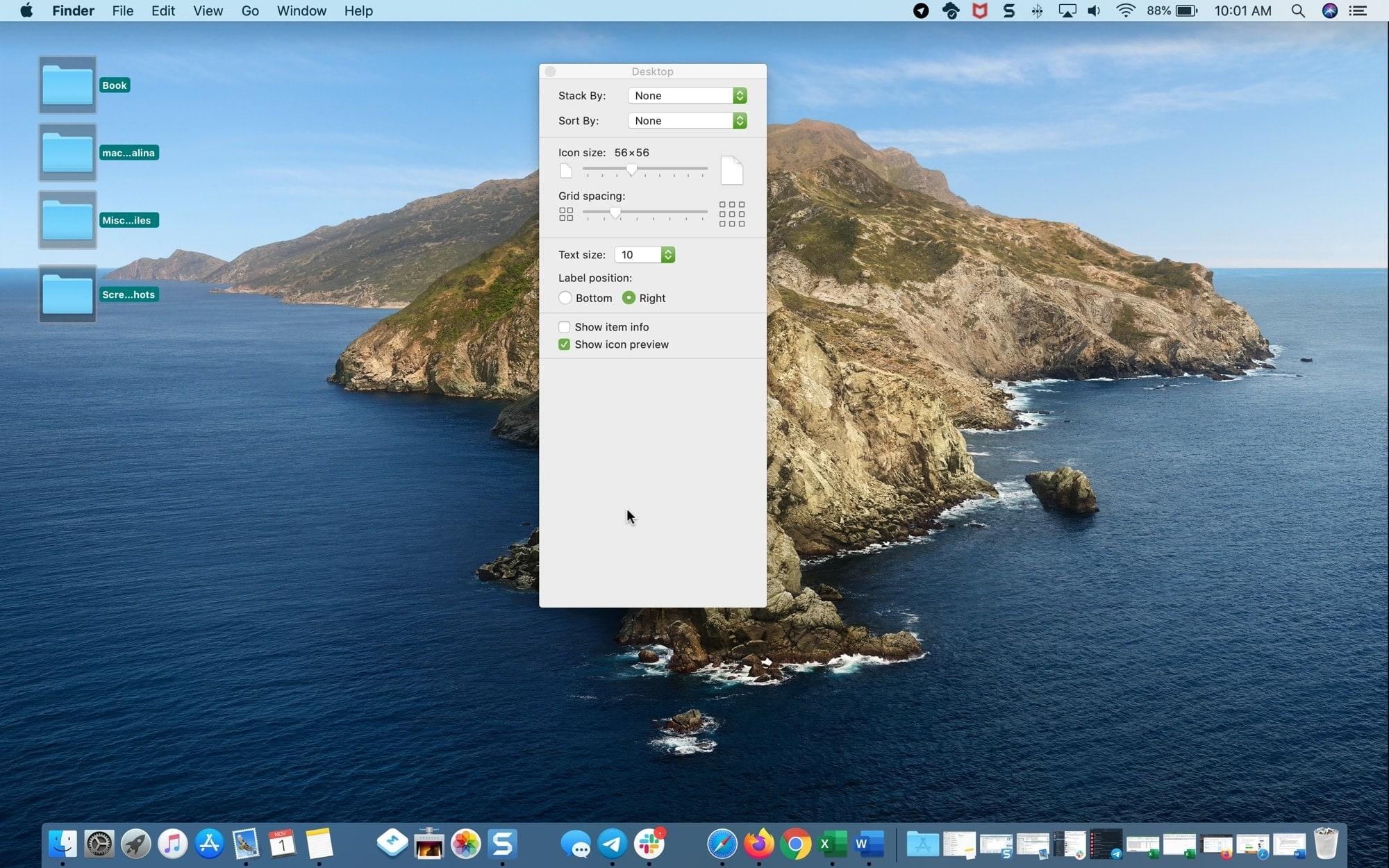 Маленькие иконки Закрыть рабочий стол Mac