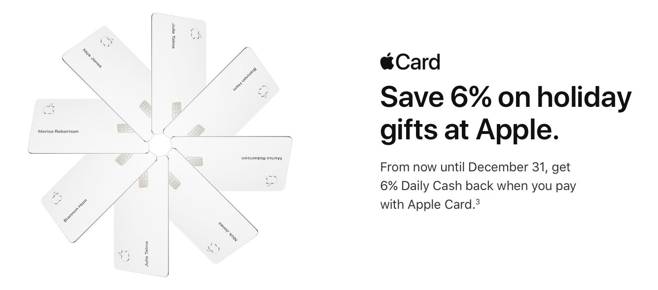 Apple Card is offering 6% Daily Cash on most Apple Store
