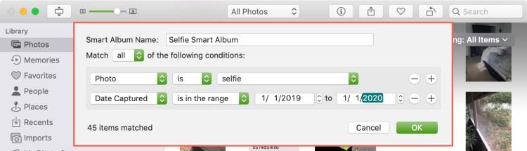 Thêm điều kiện Album thông minh trong ảnh Mac
