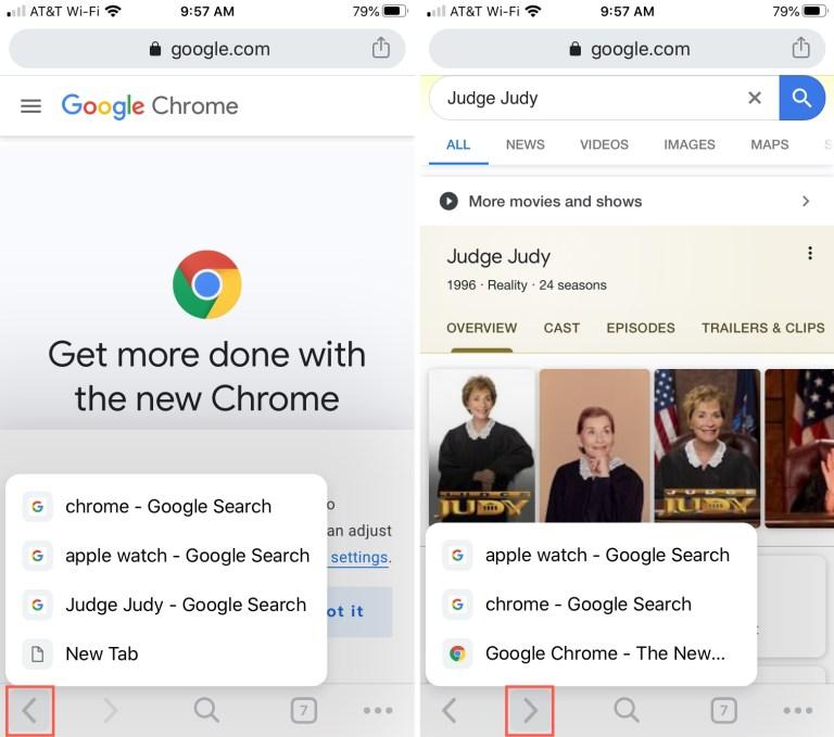 Chrome Back Forward iPhone