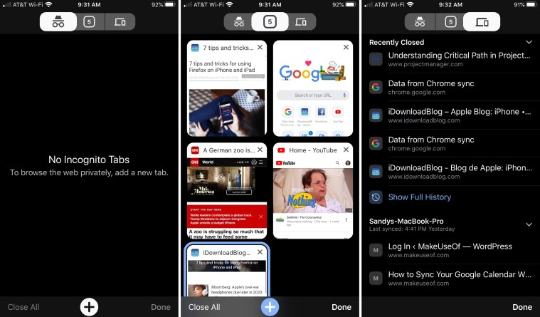 Chrome Manage Tabs iPhone