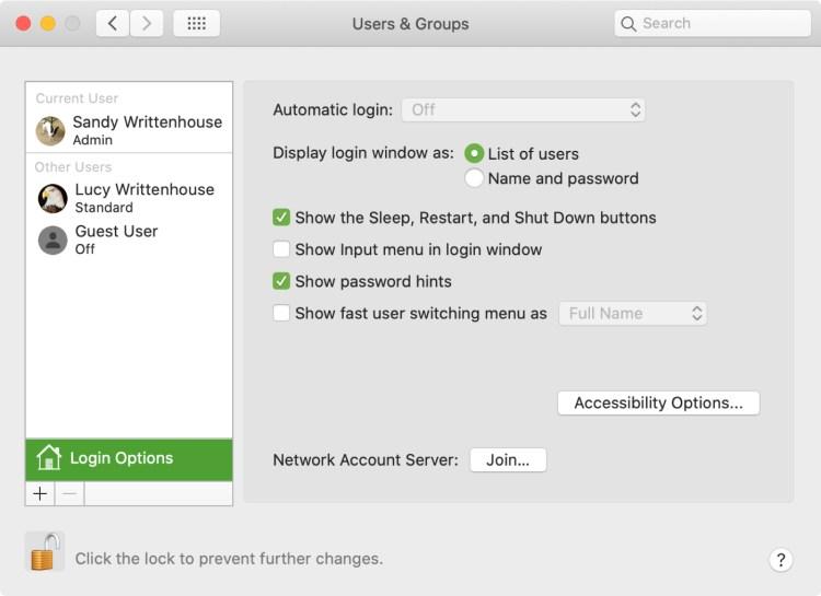 Tùy chọn cửa sổ đăng nhập Mac