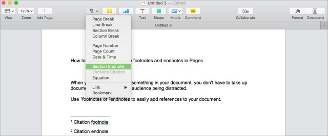 How to create and customize footnotes and endnotes in Pages