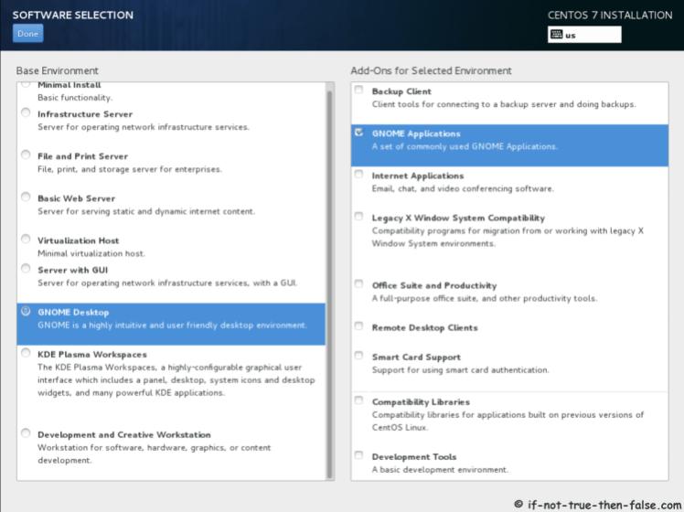Pemilihan Perangkat Lunak CentOS 7.5
