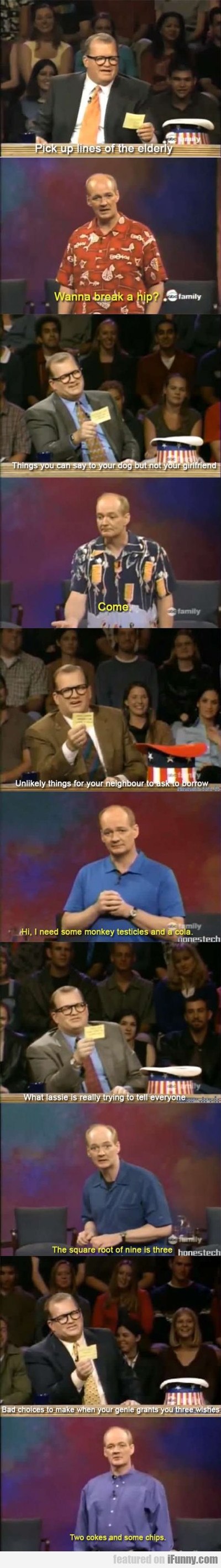Pick Up Lines Of The Elderly...