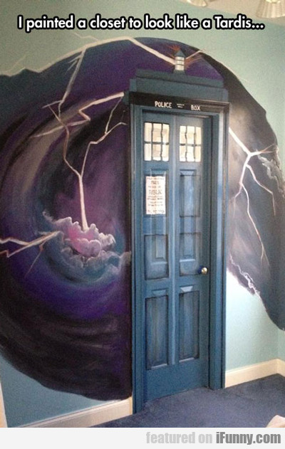 I Painted A Closet To Look Like A Tardis...