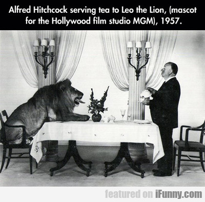 Alfred Hitchcock Serving Tea To...