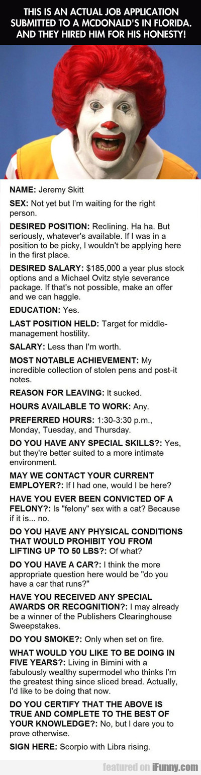 This Is An Actual Job Application...