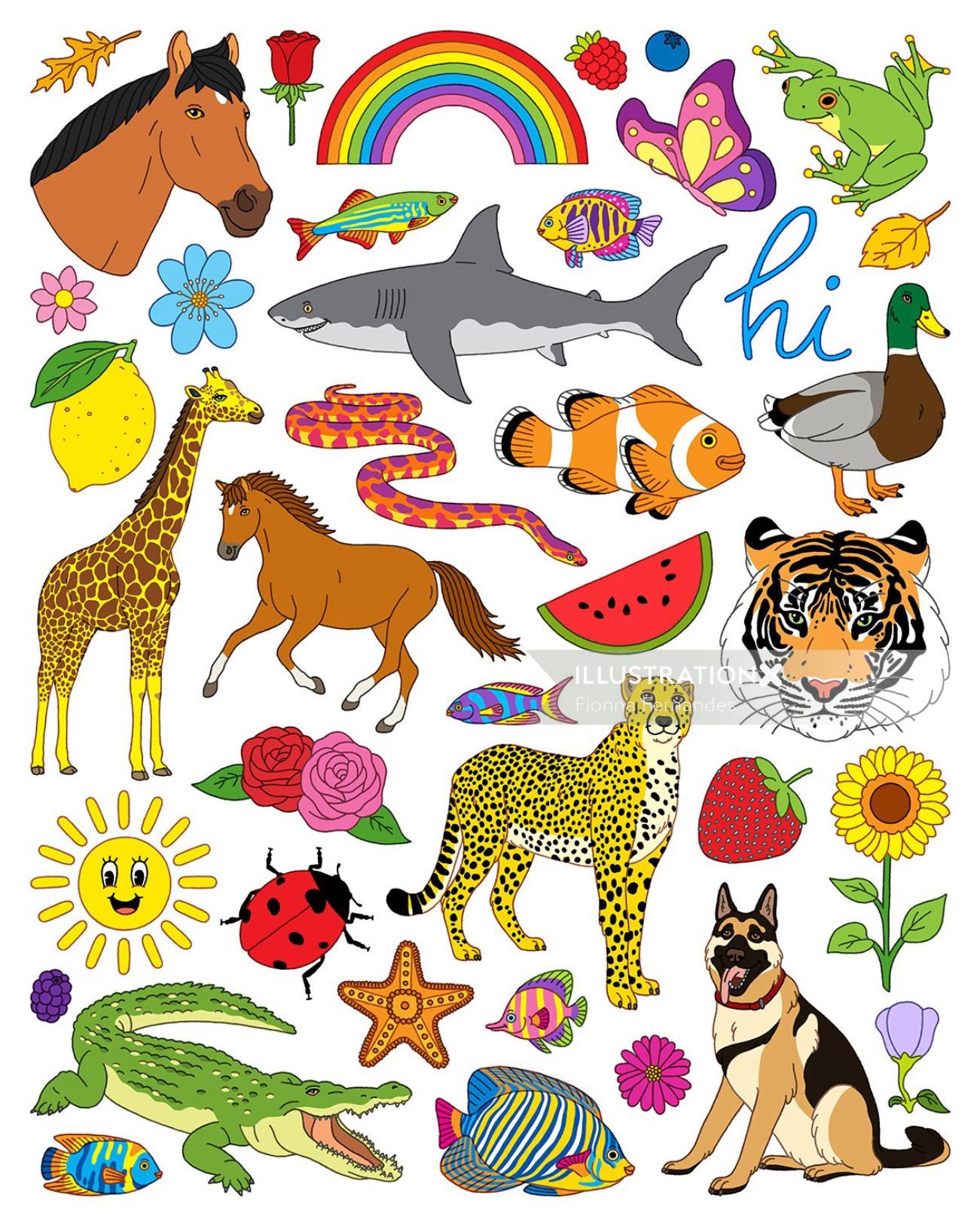 Animal Collage : animal, collage, Animals, Nature, Illustration, Fionna, Fernandes