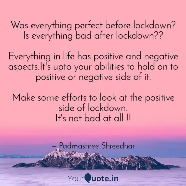 Positive Side Of Lockdown Quotes