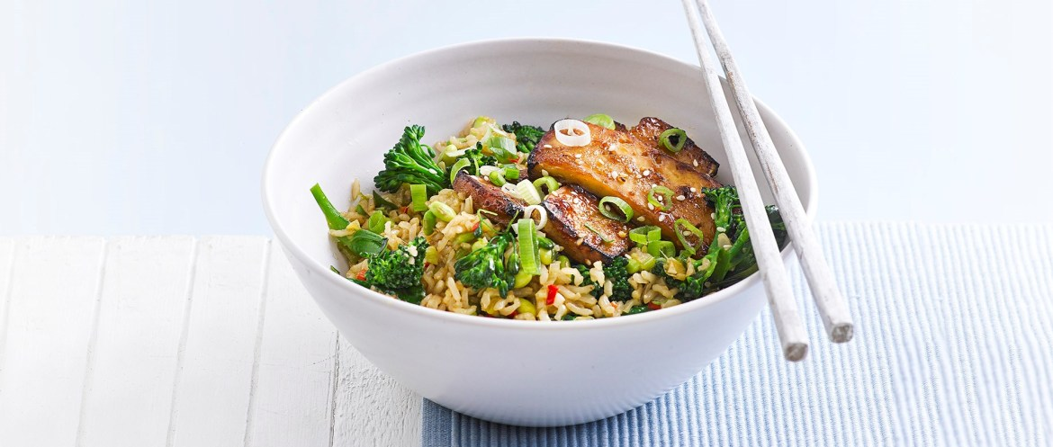 Hoisin-Glazed Tofu with Stir-Fried Brown Rice