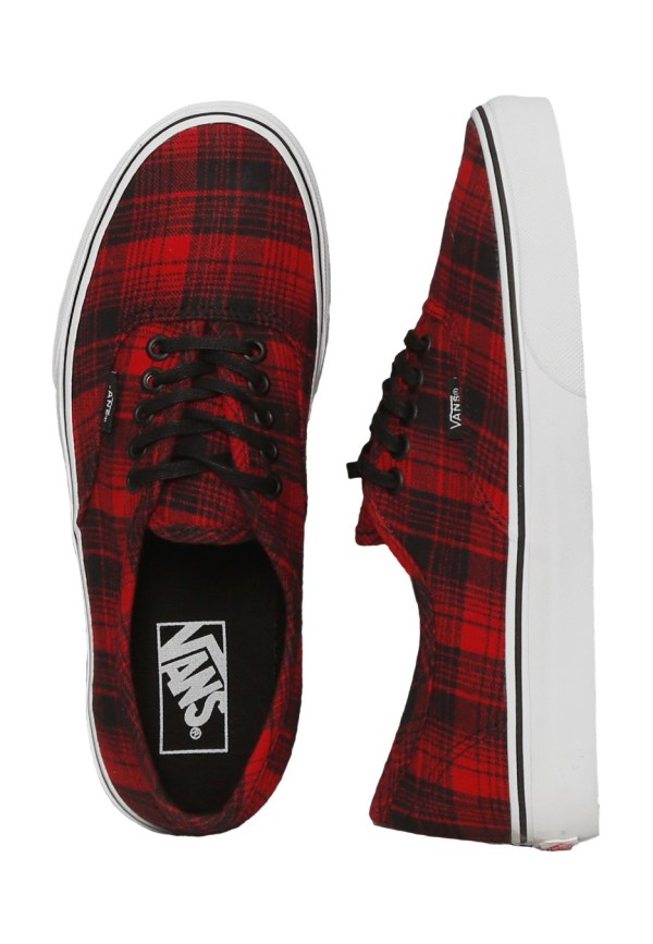 Vans - Authentic Plaid Flannel Racing Red True White
