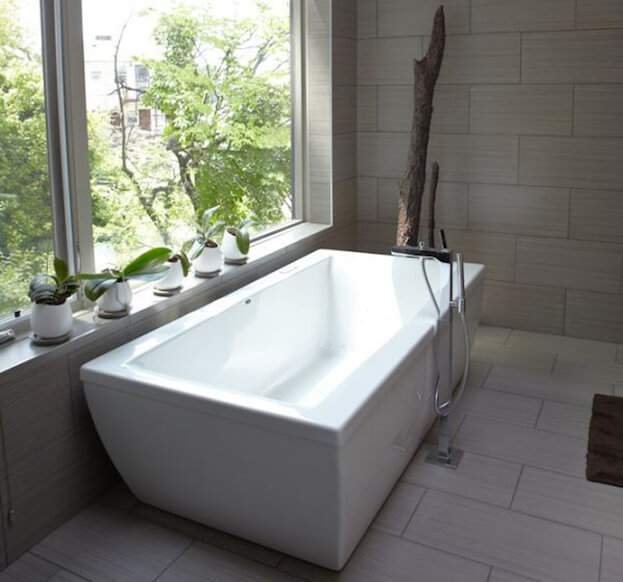 a shower to a freestanding tub