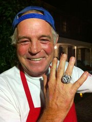 Not only were Connell's hot dogs a hit with the crowd--to the bewilderment of the gourmet chefs at the party--but Jacobs, impressed by the vendor's evident passion for baseball, gave him temporary custody of a genuine 2009 World Series championship ring, encrusted with 119 diamonds.