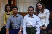 Kyaw Min (second from right), former member of the Myanmar Parliament, spent seven years in prison,<br /> along with his wife and three children, for speaking out for Rohingya.<br />
