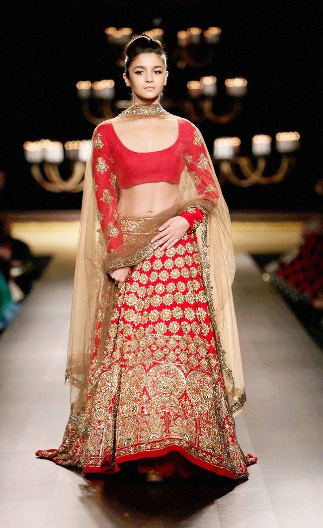 Alia Bhatt Stuns in Red Lehenga at India Couture Week  Indiatimescom