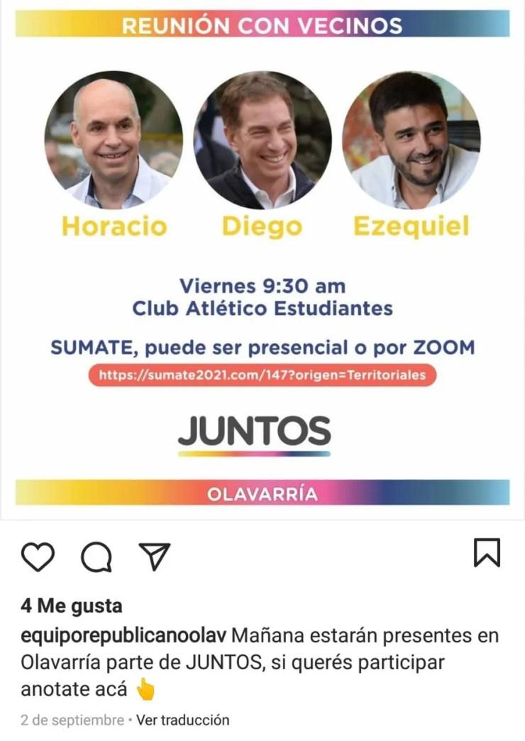 Equipo Republicano de Olavarría invitaba a la reunión con vecinos que realizaron Horacio Rodríguez Larreta, Diego Santilli y Ezequiel Galli