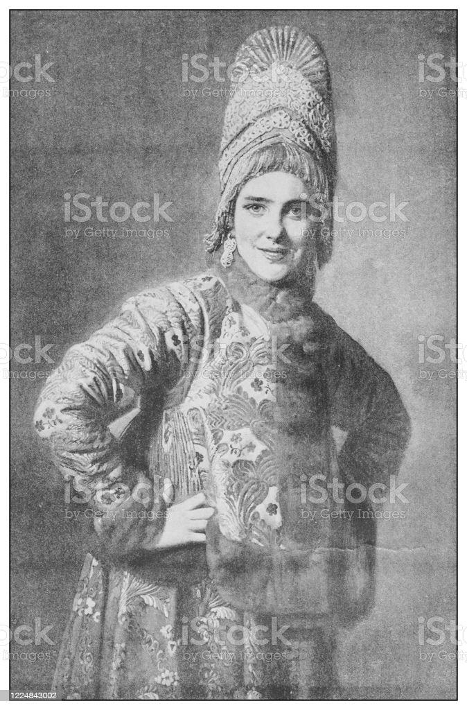 https www istockphoto com fr vectoriel peinture antique c c3 a9l c3 a8bre du 19 c3 a8me si c3 a8cle fille russe par karl venig gm1224843002 360315804