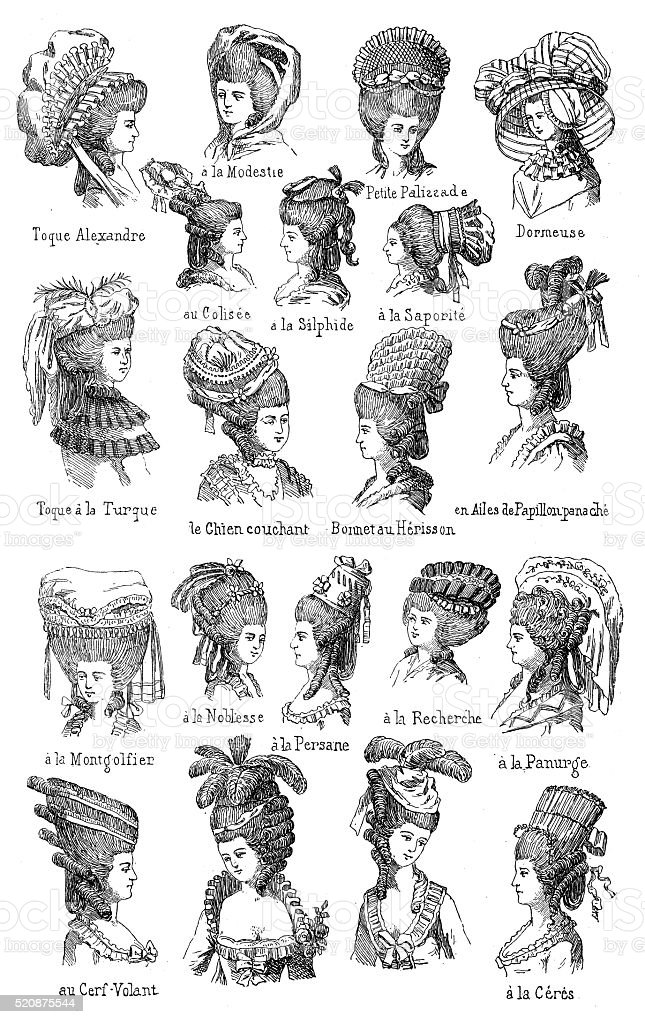 Antique Illustration Of Different 18th Century Hairstyles