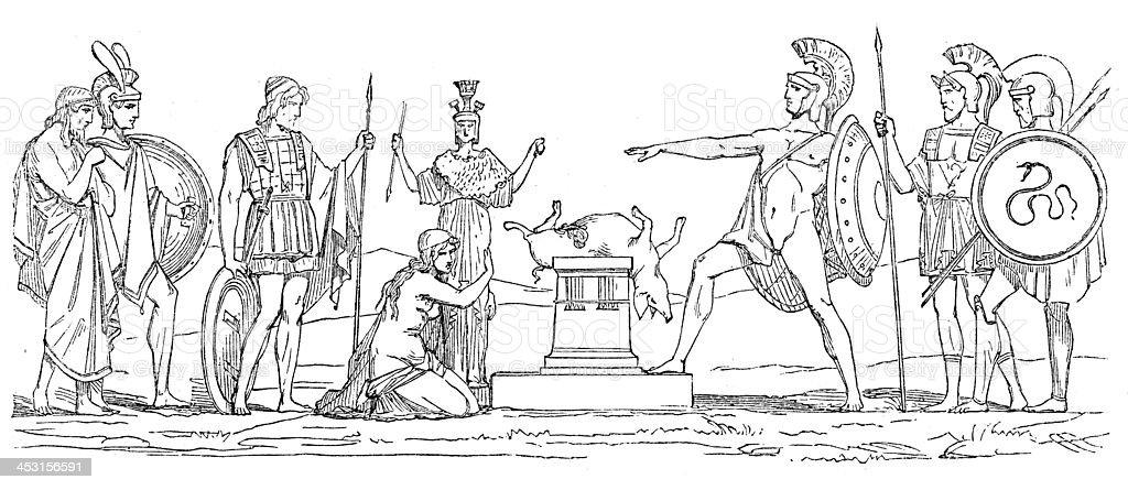Antique Illustration Of Greek Mythological Figures Stock
