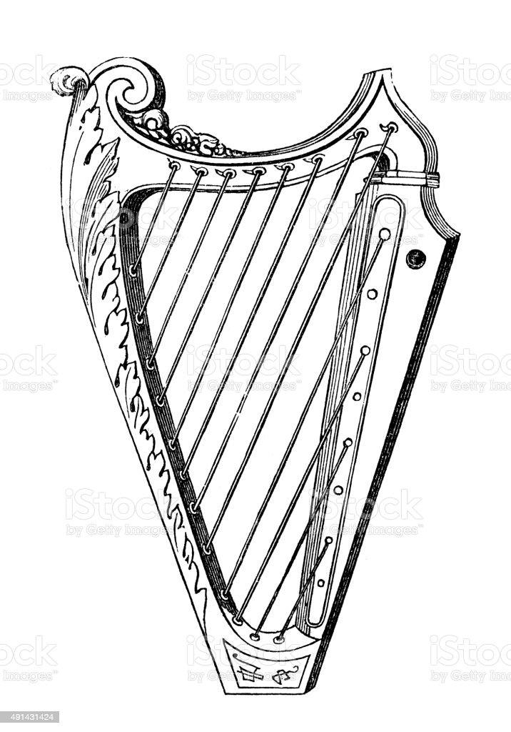 Antique Illustration Of Musical Instruments Harp Stock