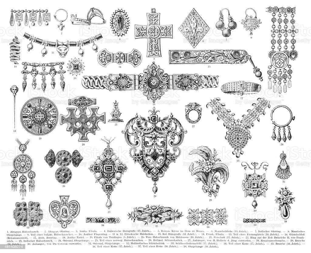Antique Jewelry Engraving 1896 Stock Vector Art & More
