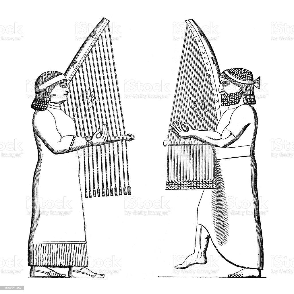 Assyrian Musicians Play The Harp Stock Vector Art & More